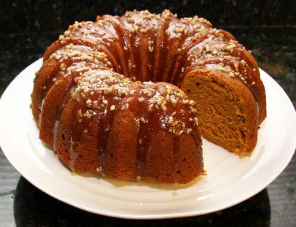 Pumpkin Pound Cake With Maple Pecan Glaze on white plate