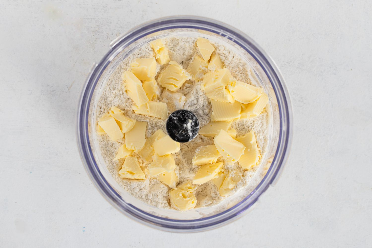 Flour, salt and butter in a food processor