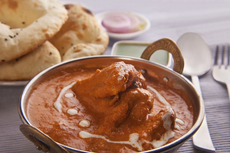 Butter chicken and naan bread