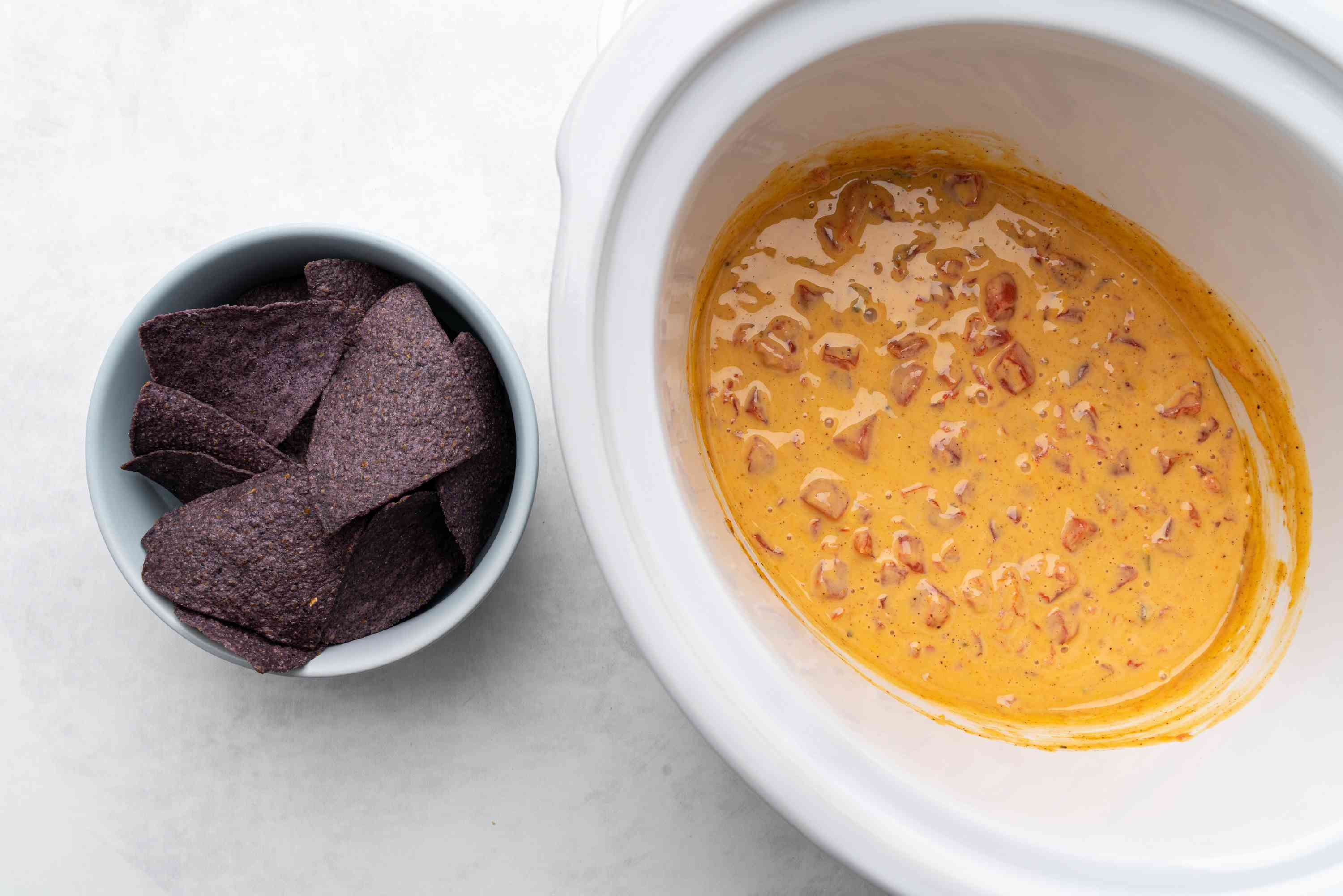 Crock Pot Velveeta Mexican Cheese Dip served with chips