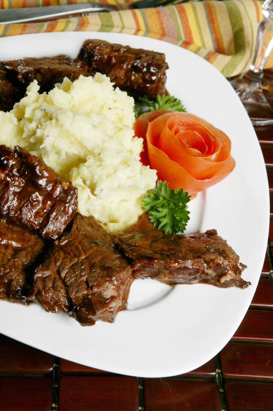 Bourbon Steak Tips with Mashed Potatoes, From Above
