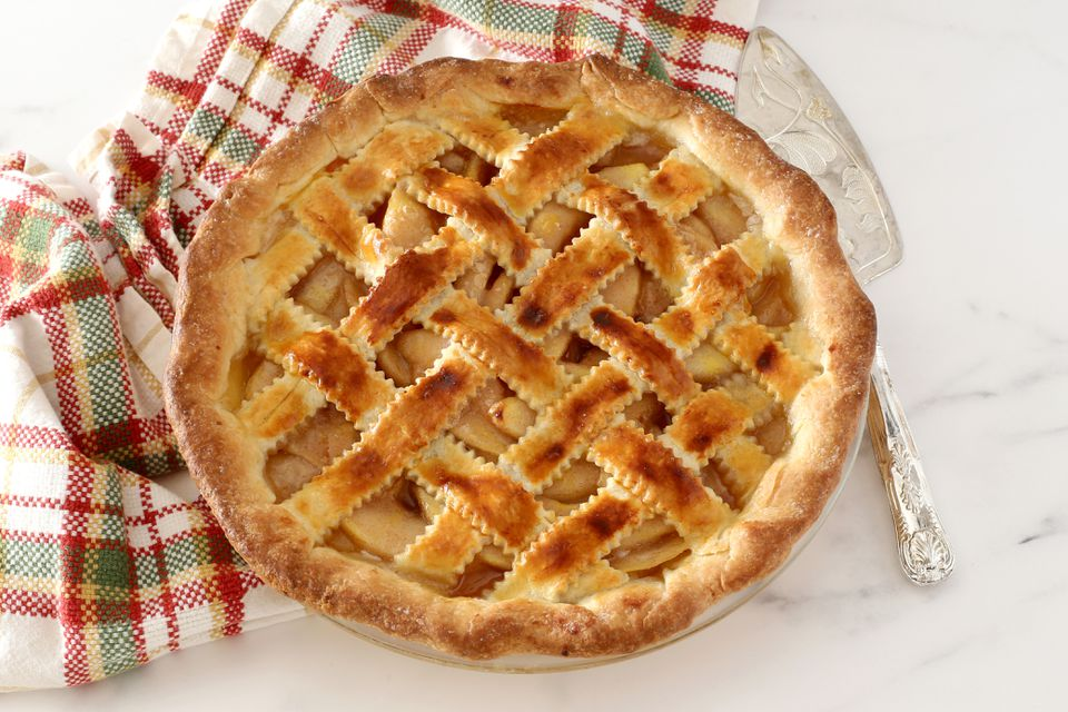 Pear pie with lattice top crust.