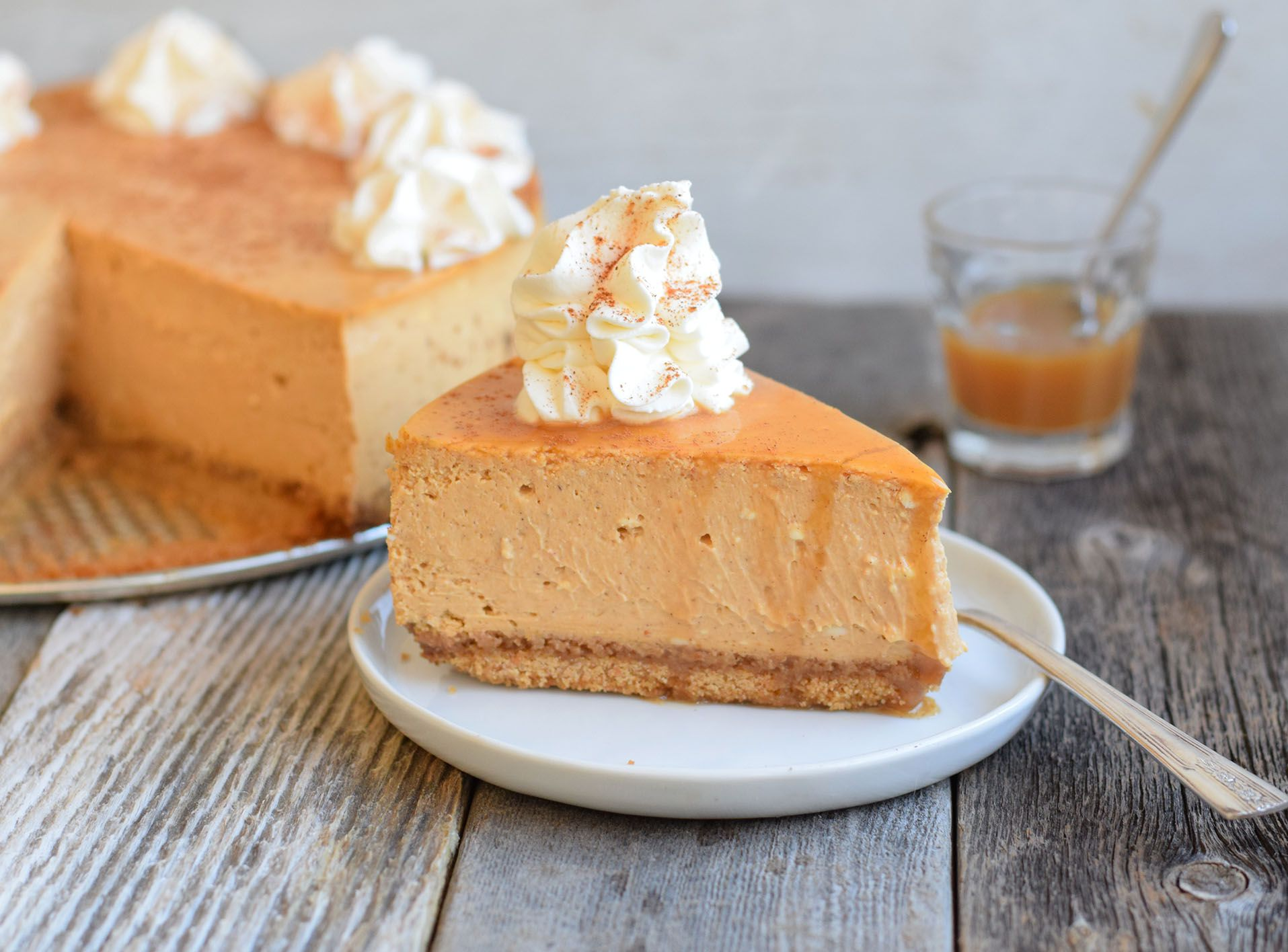 Maple Bourbon Whipped Cream Takes Pumpkin Cheesecake to the Next Level