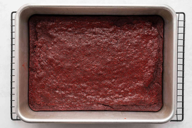 Red Velvet Brownies on a cooling rack