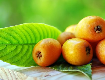 Loquats, also known as nispero fruit, on wooden table