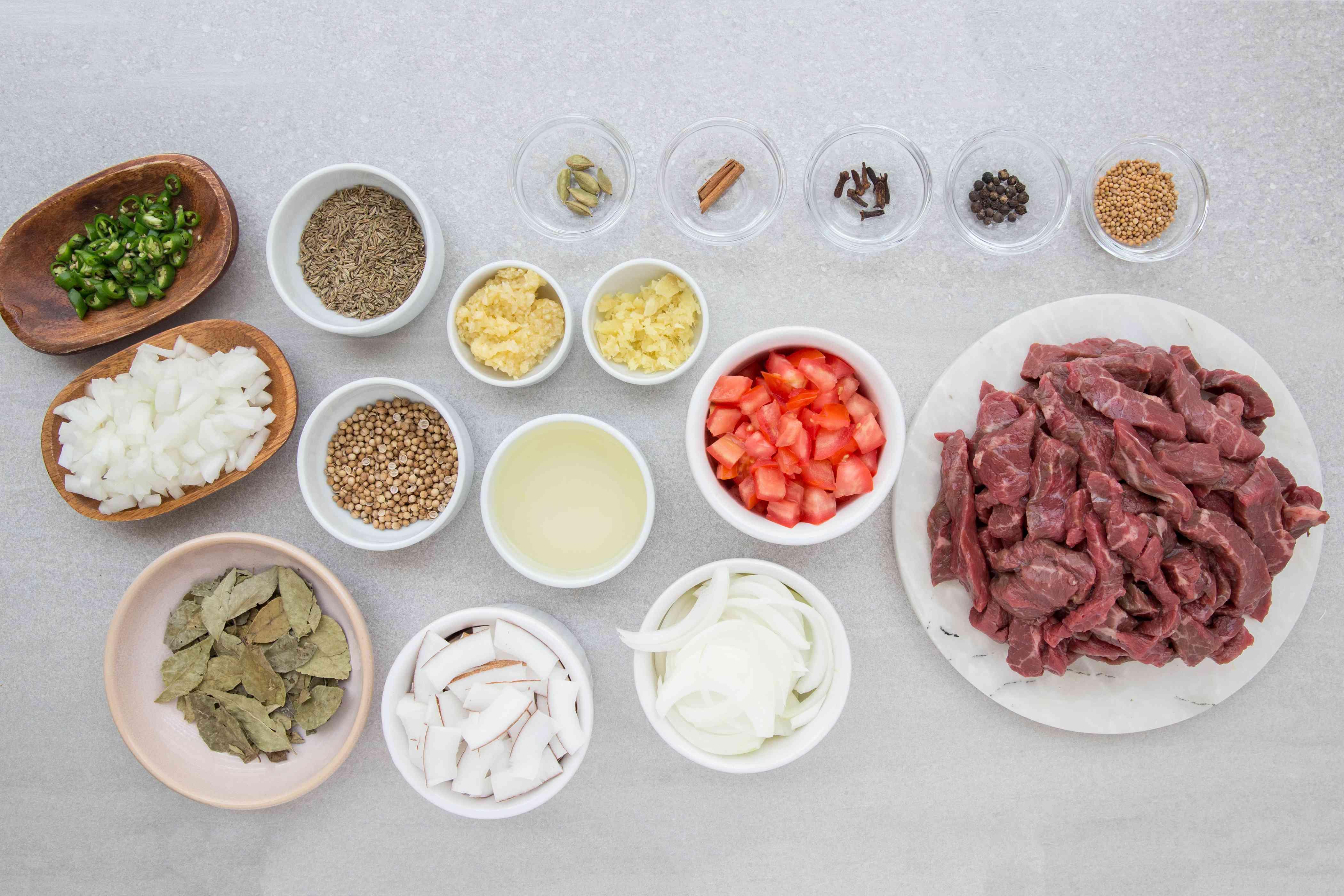 Kerala Beef Fry ingredients