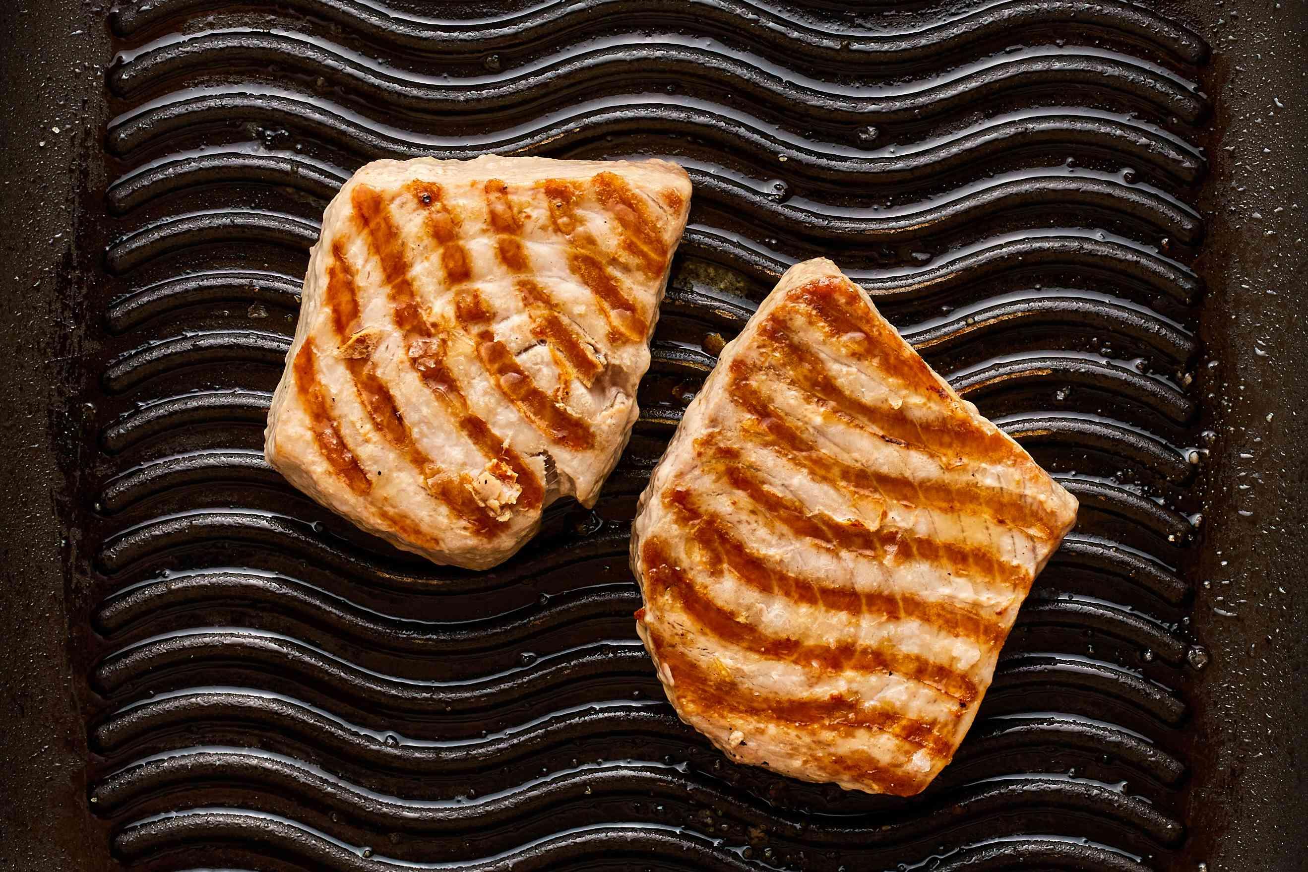 Tuna steaks on grill pan