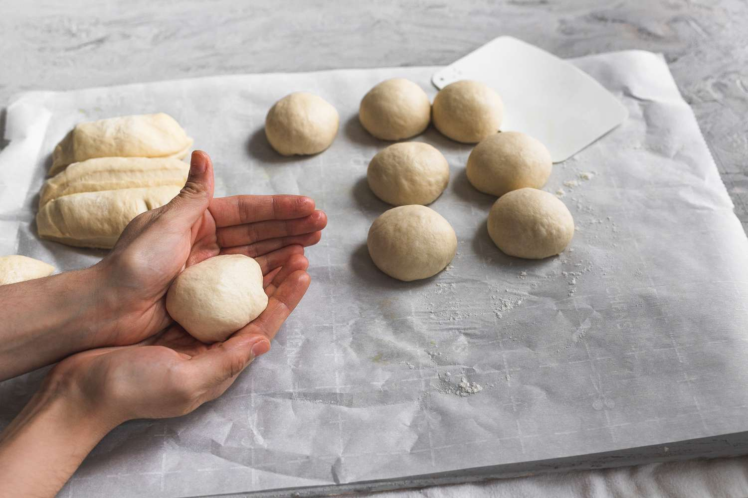 small balls of dough formed with hands