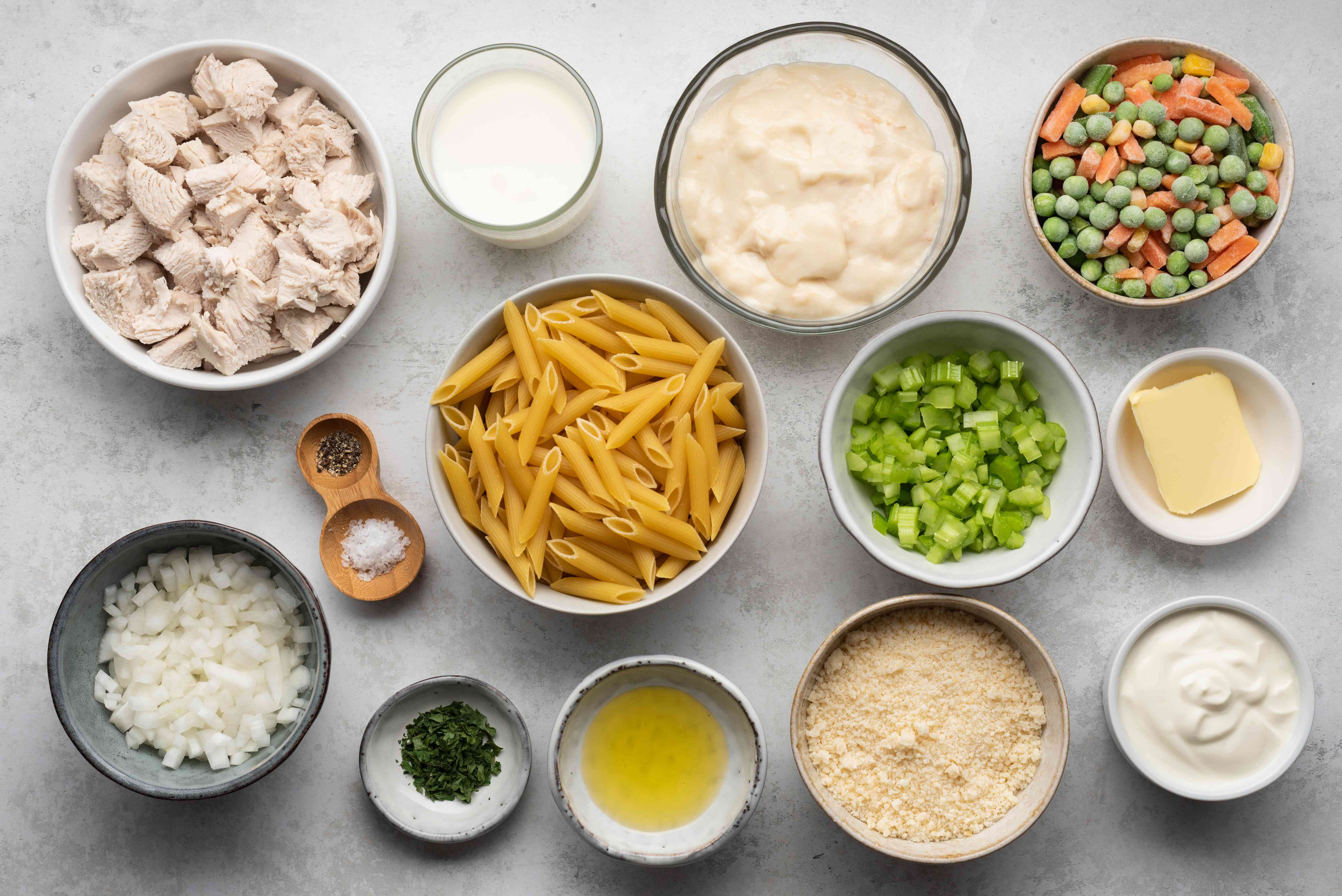 Creamy Chicken and Mini Penne Casserole ingredients