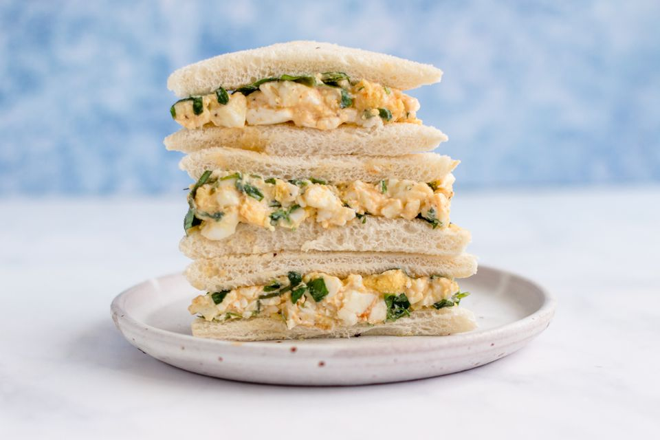Watercress Egg Salad Tea Sandwiches