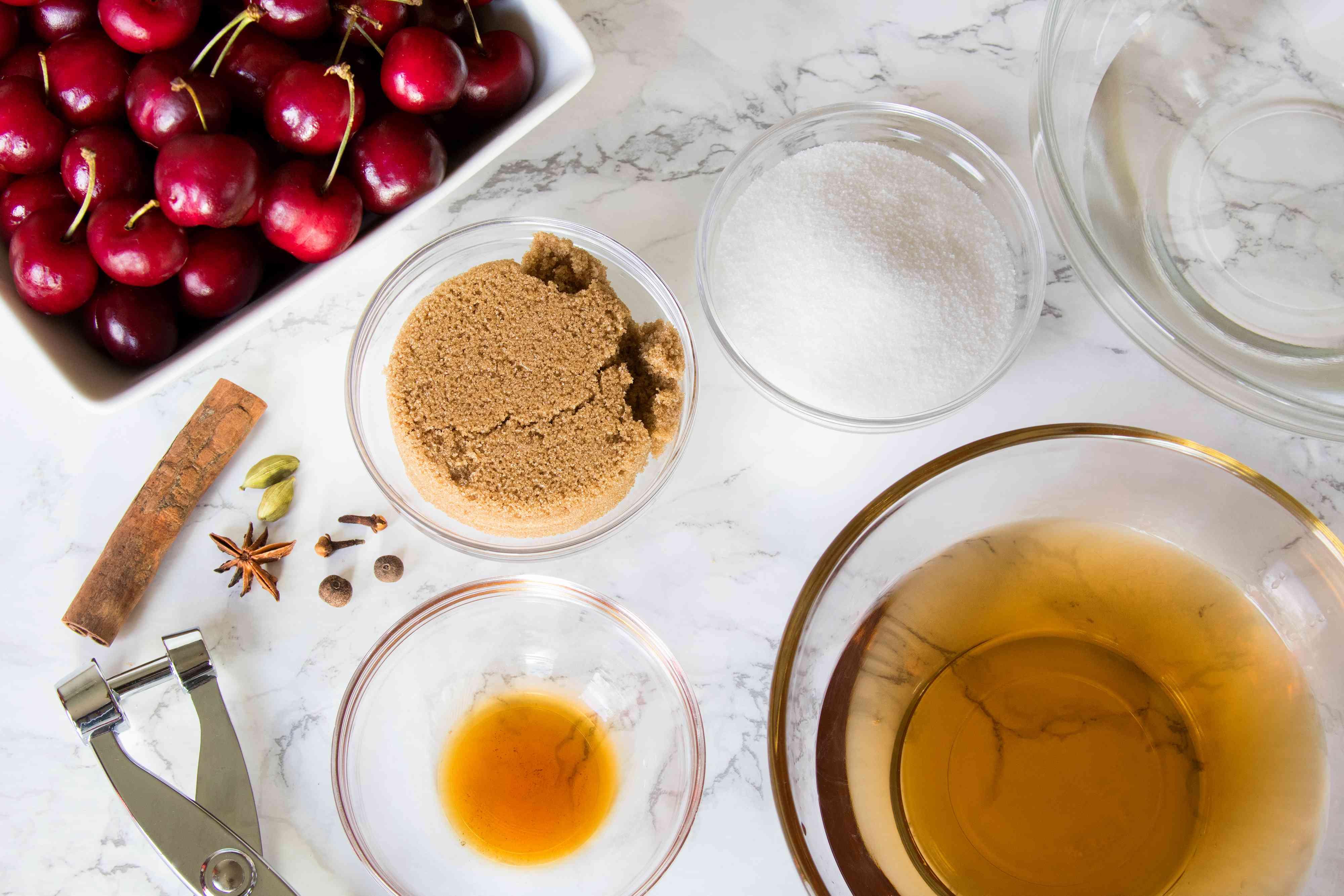 Ingredients for Brandied Cherries