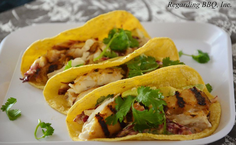 Halibut tacos with spicy radicchio-avocado slaw
