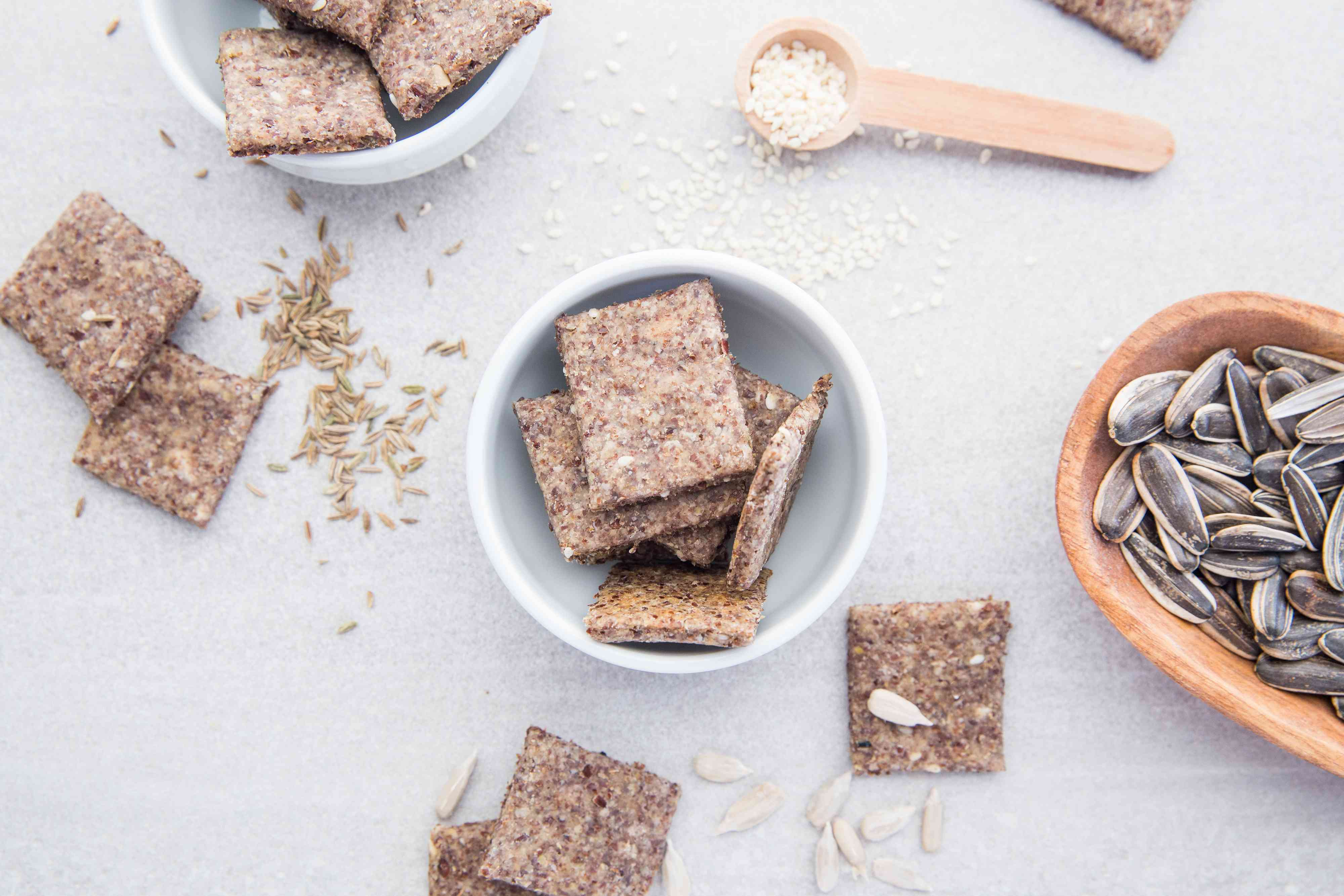 Flaxseed sourdough crackers in a bowl