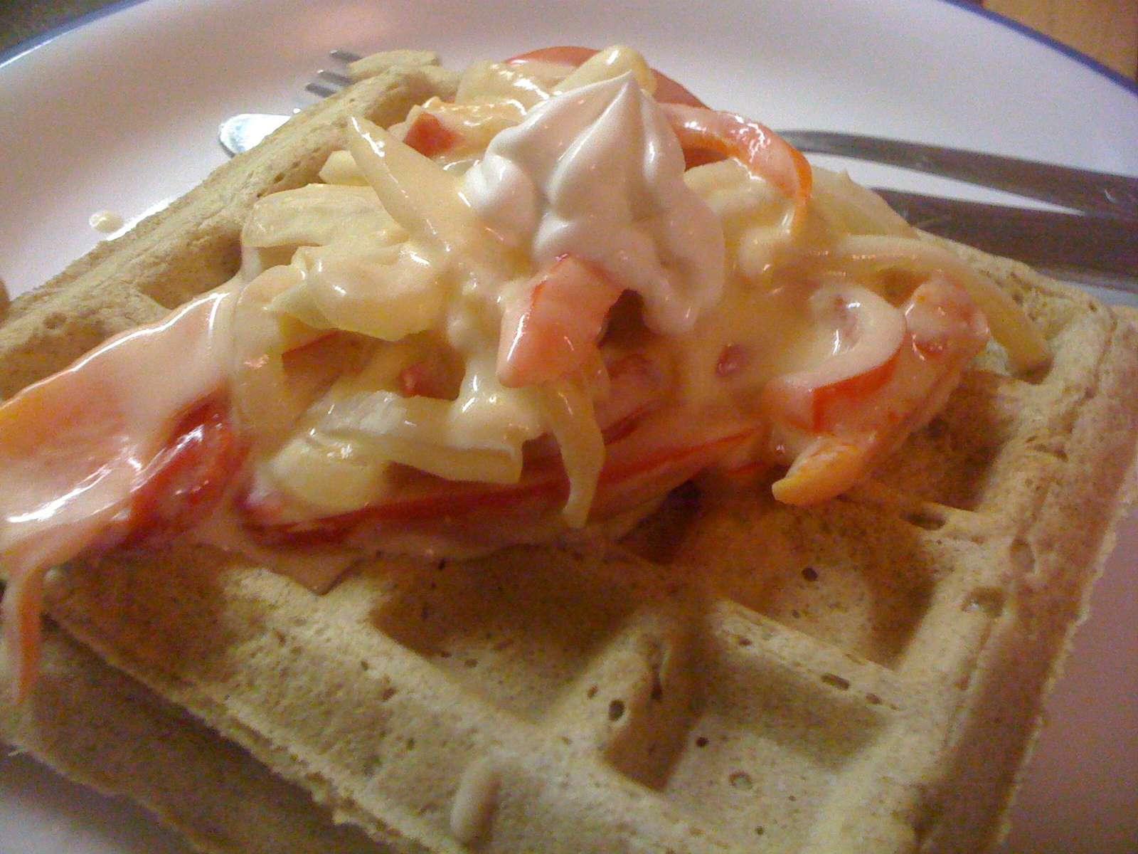 Vegan Rosemary garlic waffle with sautéed veggies and Tofutti sour cream