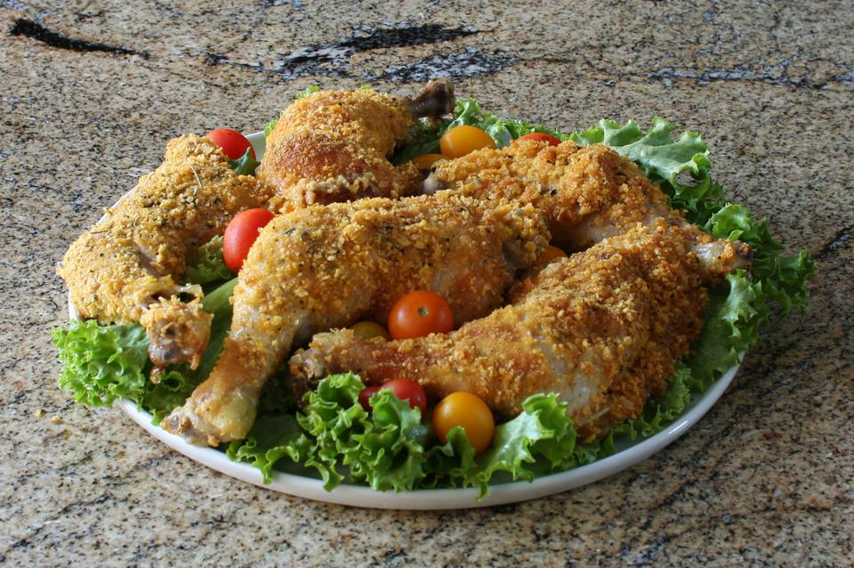Easy Oven Fried Chicken With Corn Flake Crumb Coating
