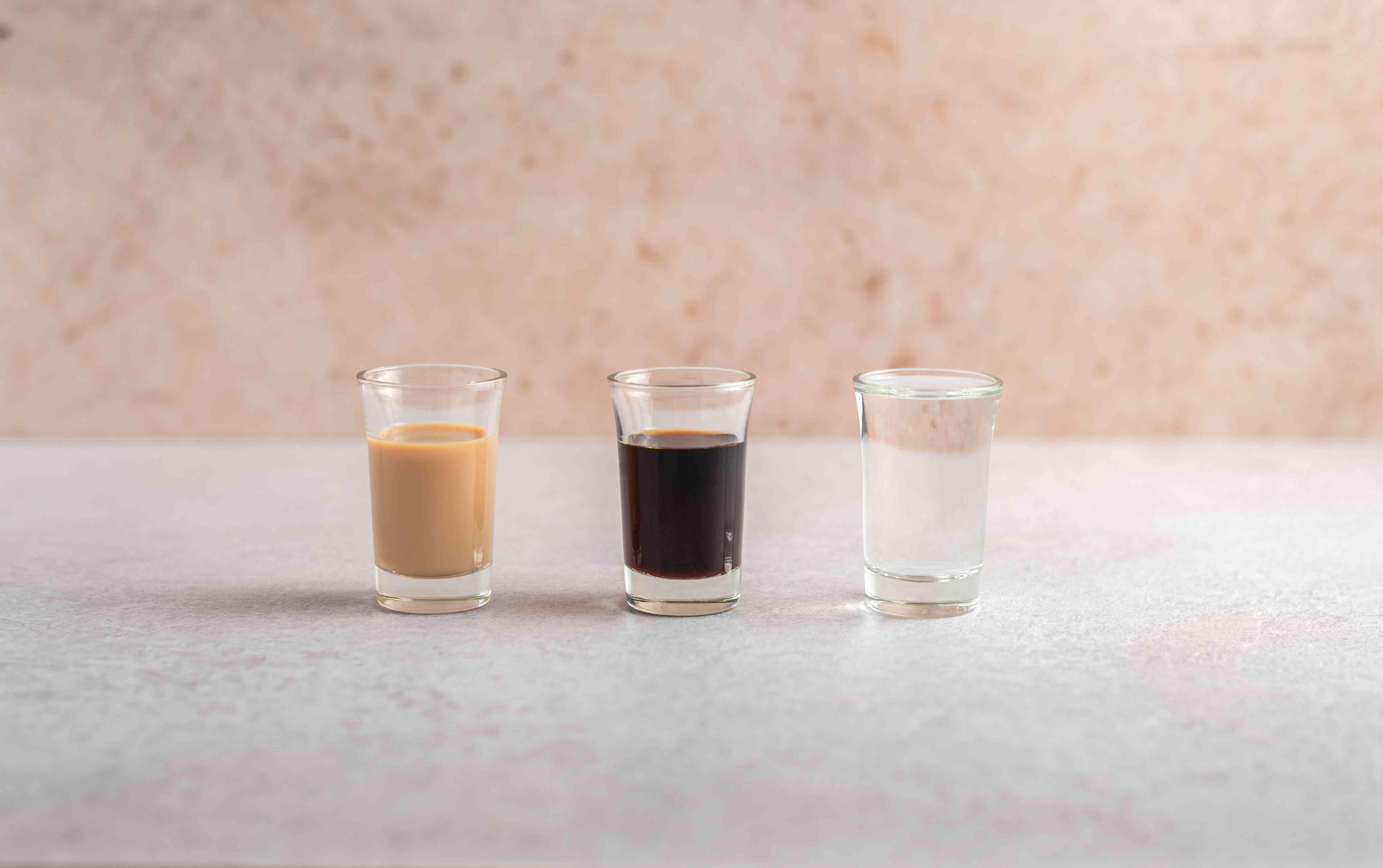 Ingredients for making a mudslide cocktail