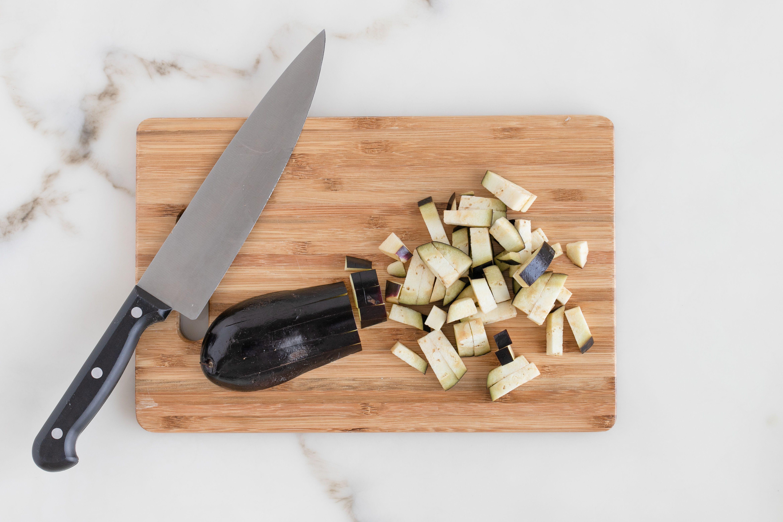 Chop eggplant into bite size pieces