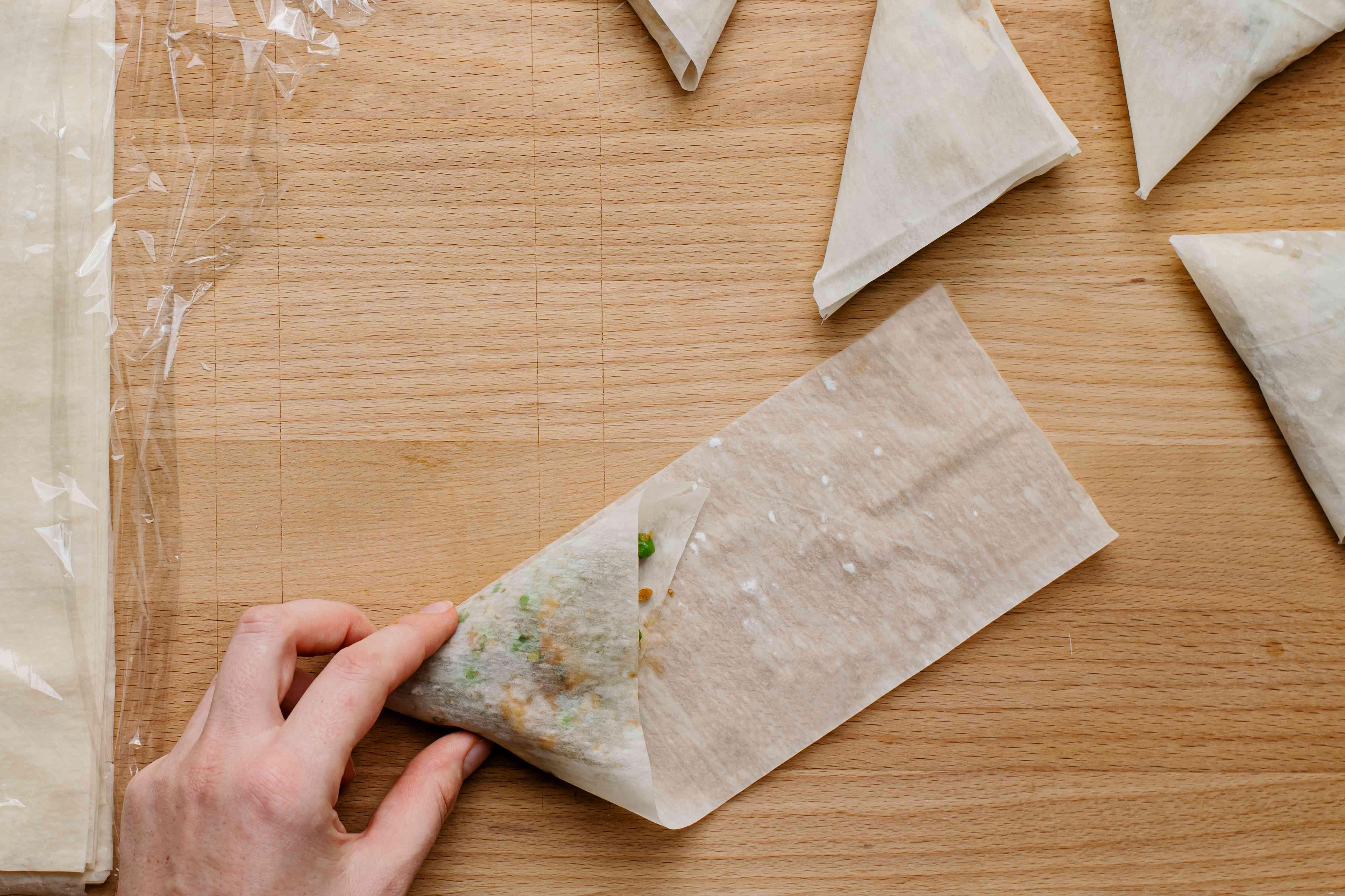 wrap the potato and pea mixture in phyllo dough