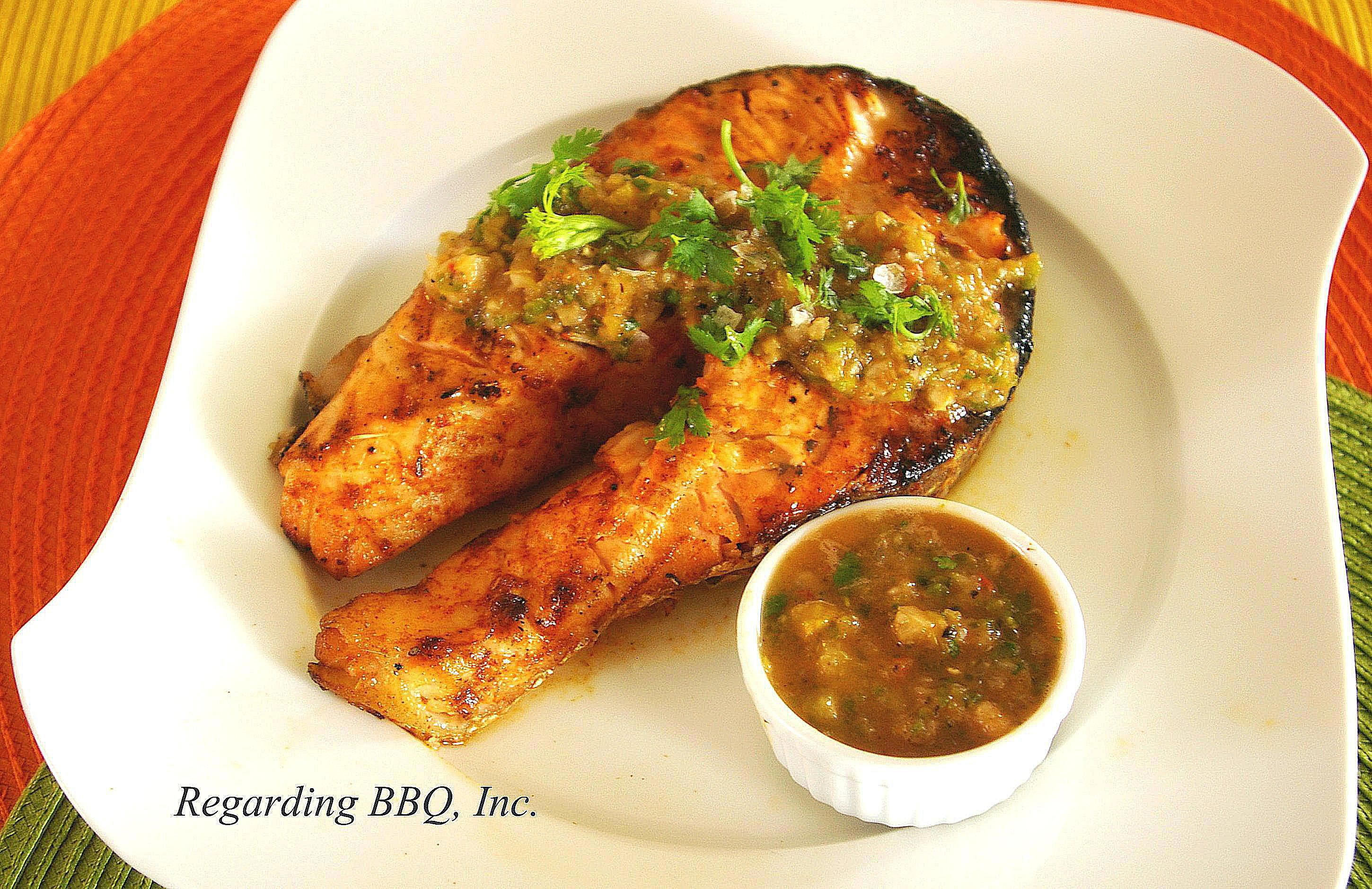 Chili-Tequila Salmon Steaks with Grilled Salsa