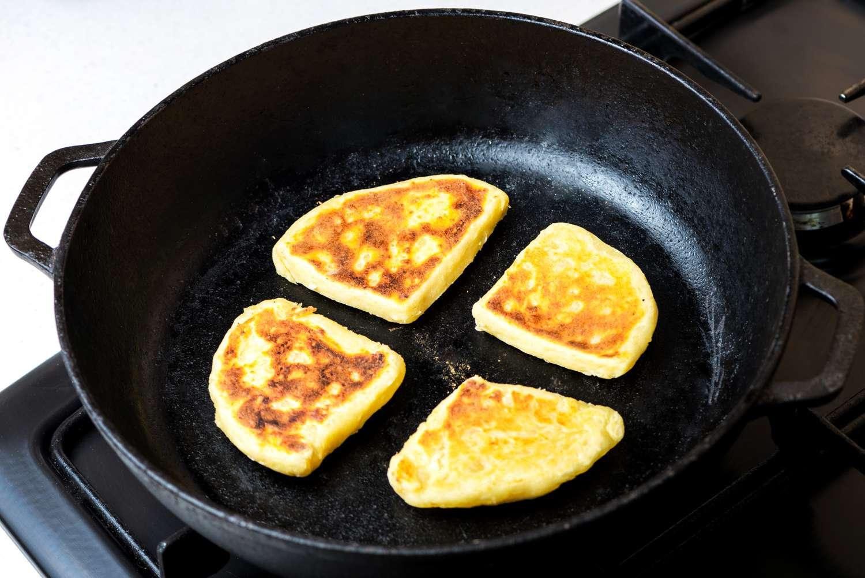 Tattie scones in cast iron pan
