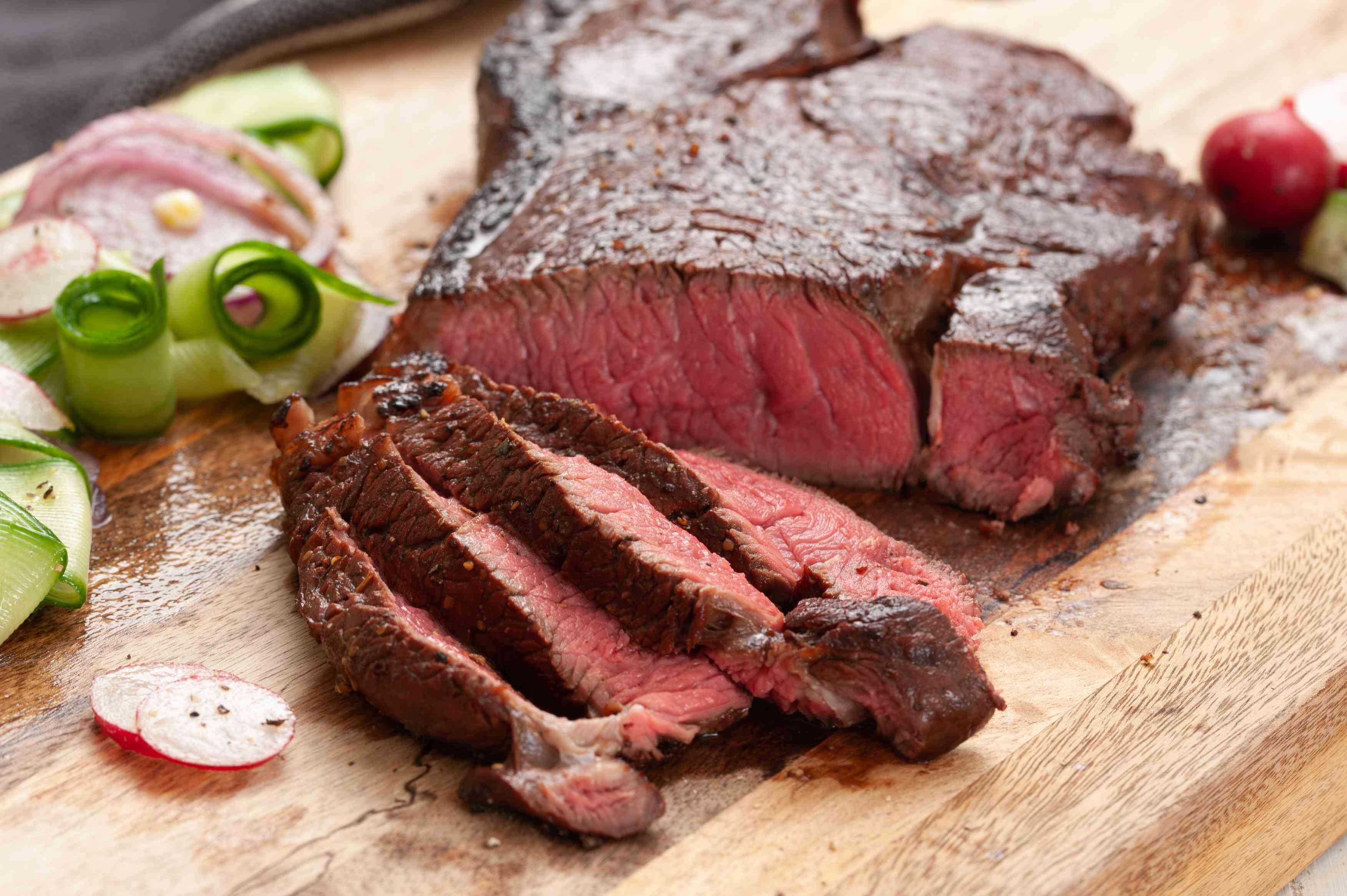 Steak is sliced thin