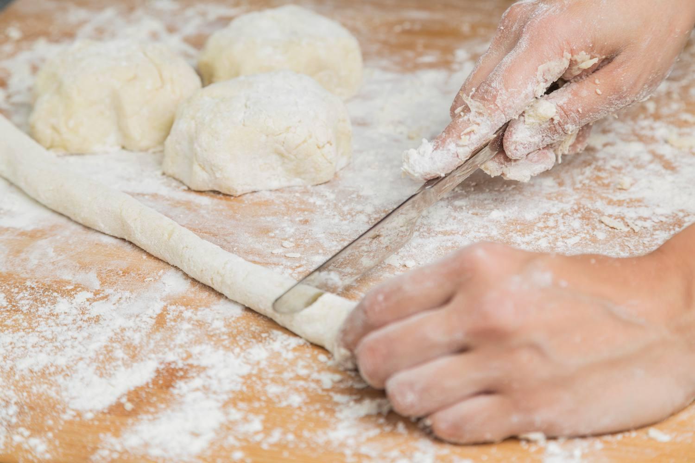 Cutting gnocchi dough
