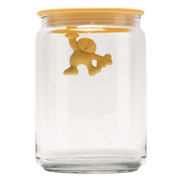 "Alessi AMDR05 SY ""Gianni a little man holding on tight"" Kitchen Box in Glass With Hermetic Lid in Thermoplastic Resin, Yellow"