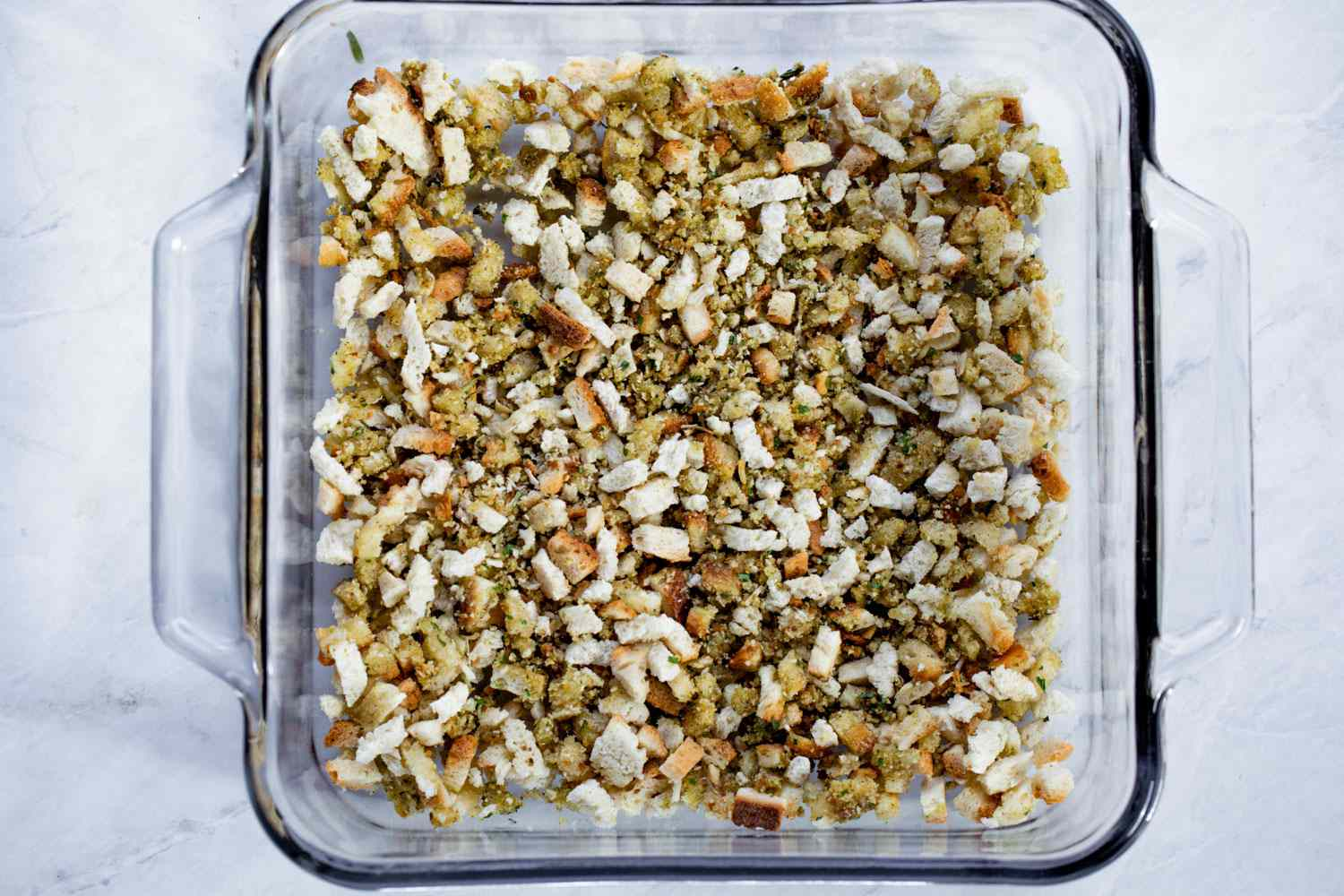 stuffing and vegetables in a baking dish