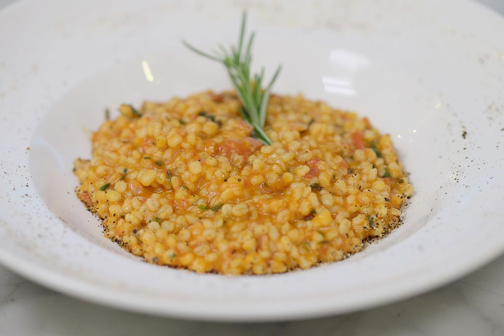 A bowl of Friuli-style orzotto, a risotto made with pearl barley (orzo)