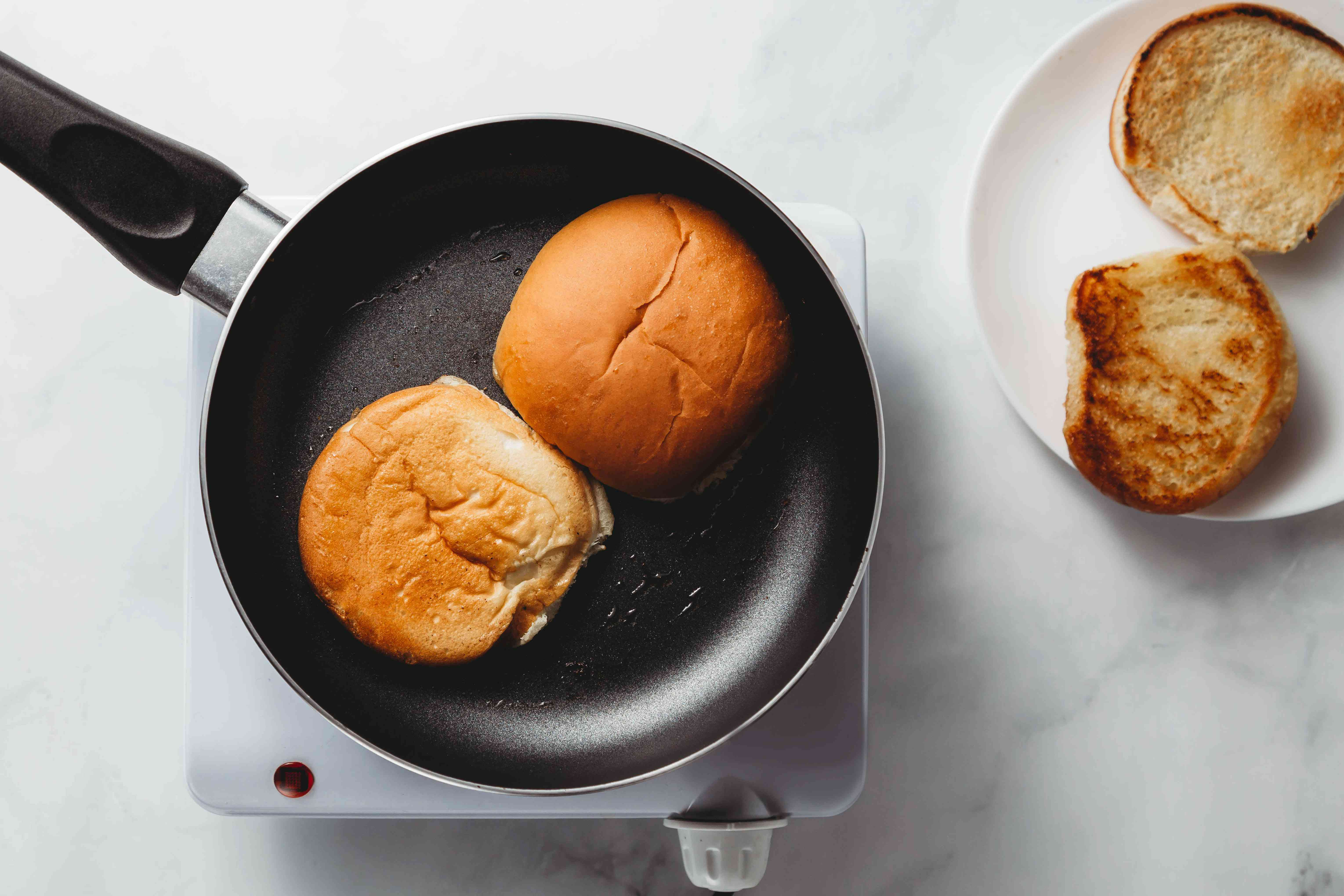 toast bread in a skillet