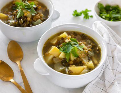 Lemon kale and lentil soup recipe