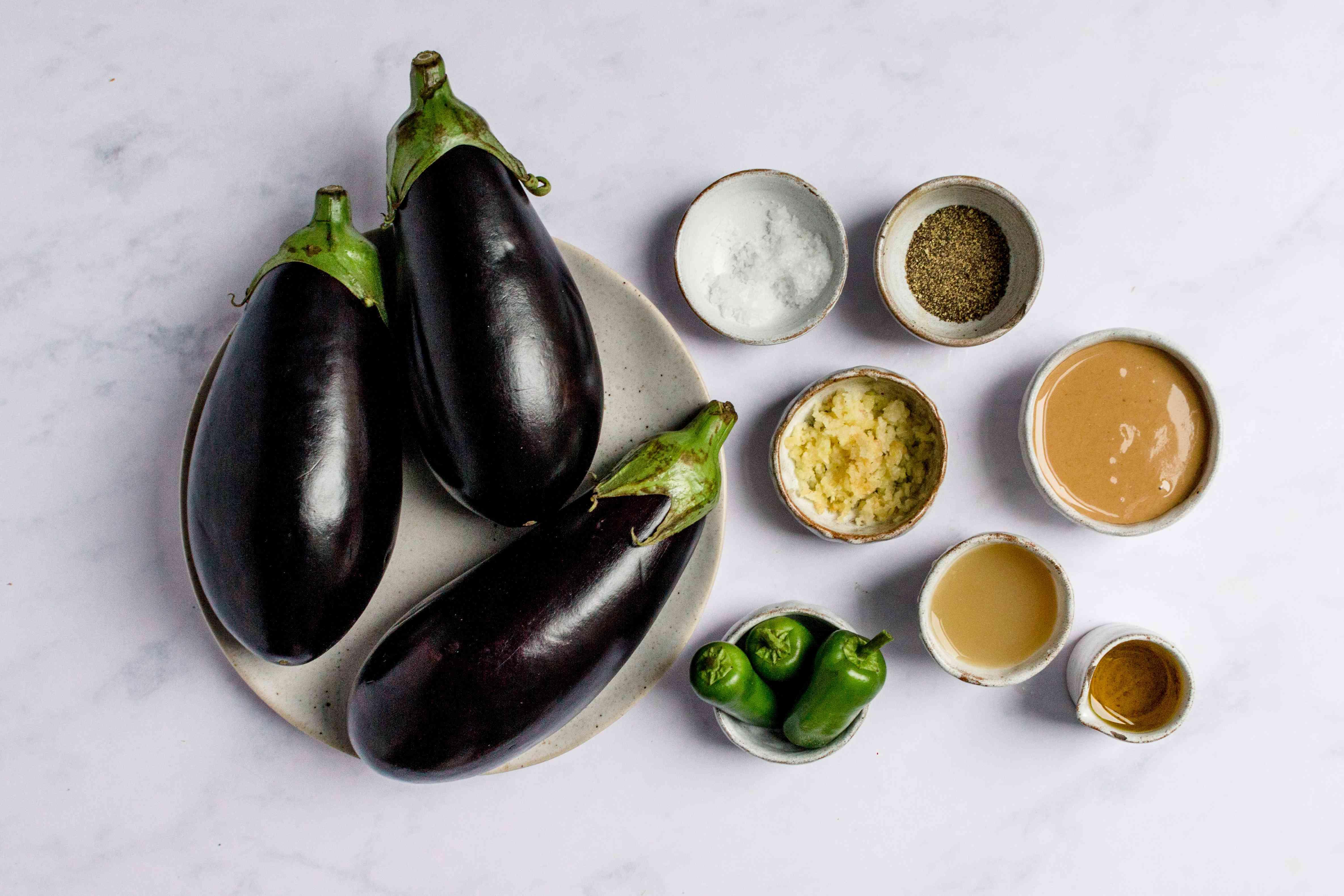 Lebanese Moutabel (Spicy Eggplant Dip) ingredients