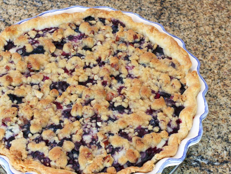 A sour cream blueberry pie
