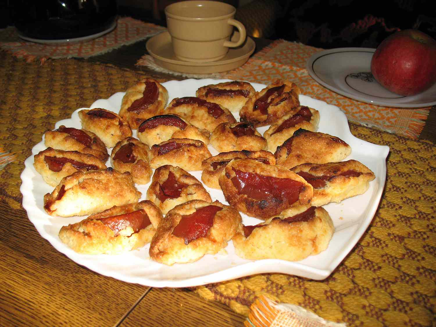 Homemade dessert of poached quince slices baked in pastry