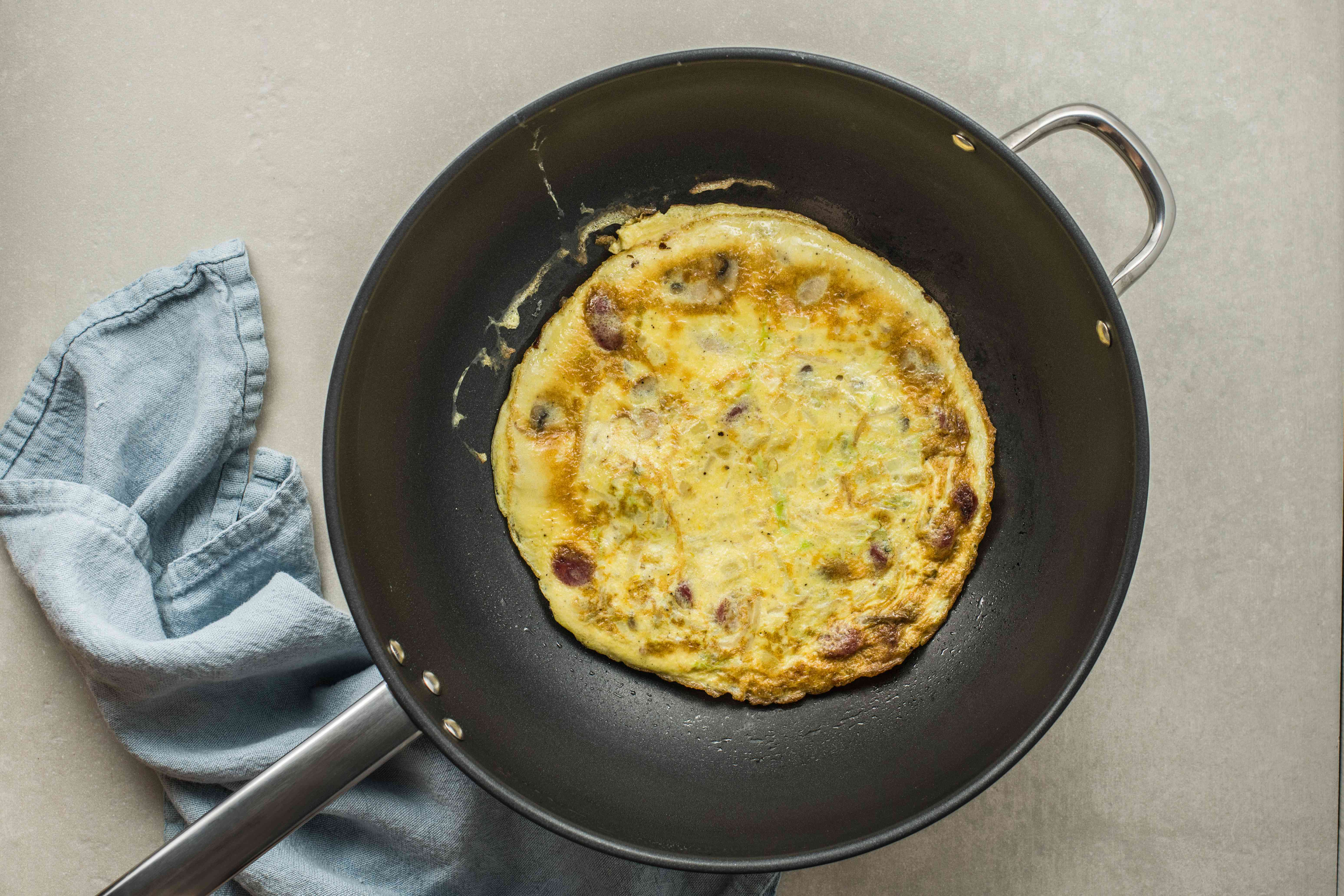 Flipped omelet in the pan