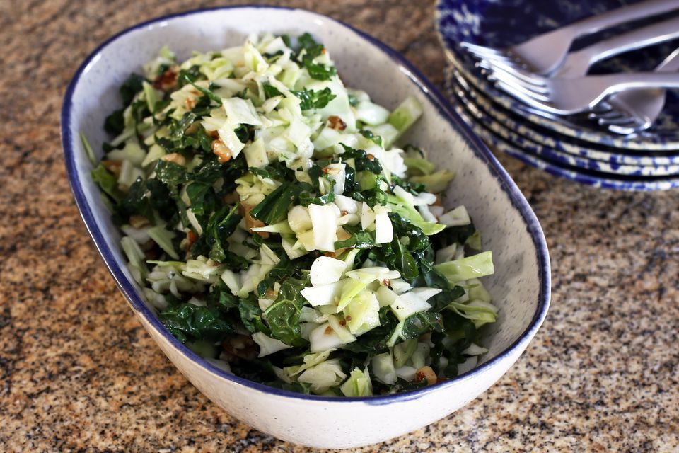 Kale and Cabbage Slaw With Mustard Vinaigrette