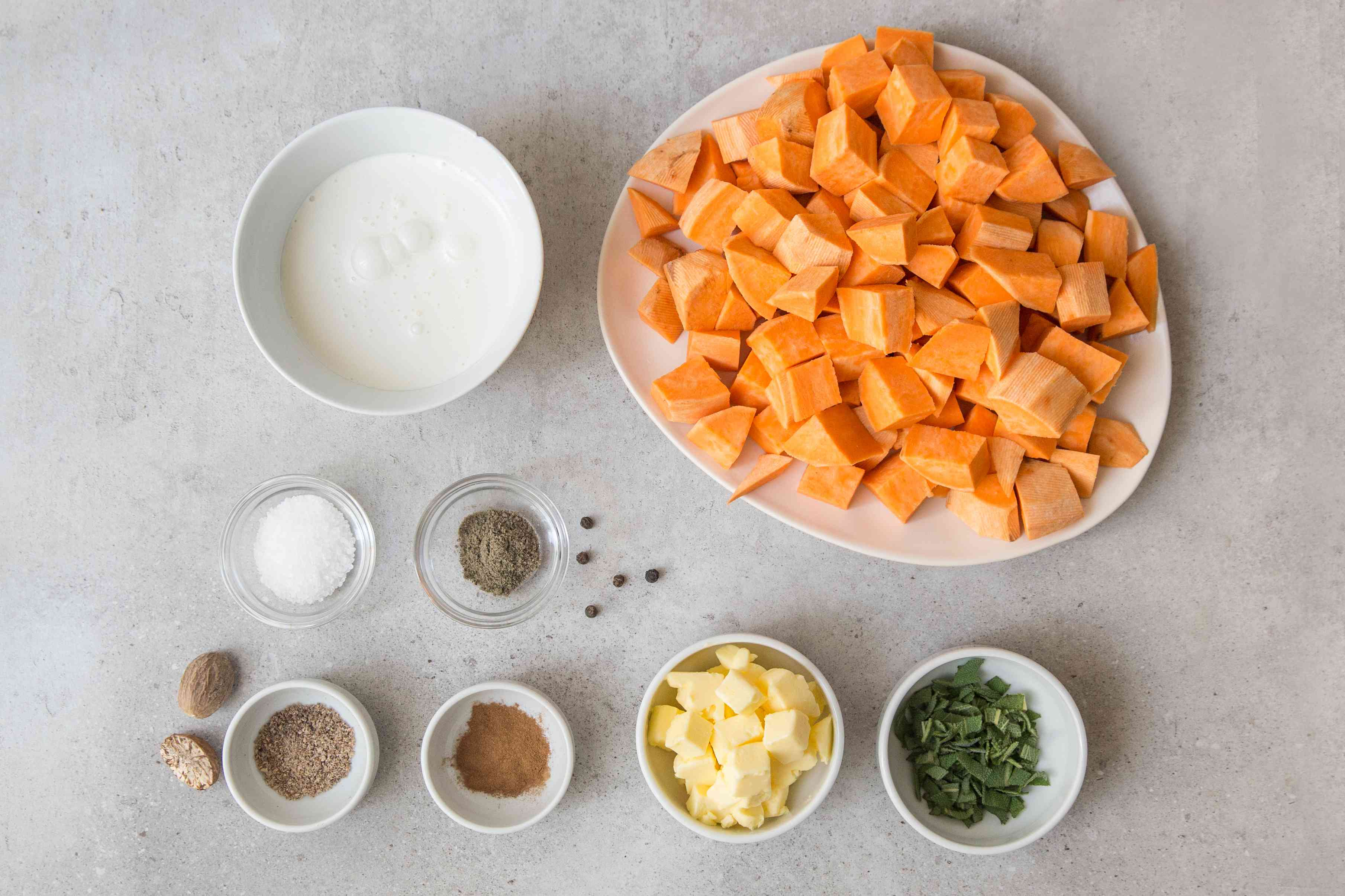 Ingredients for mashed sweet potatoes