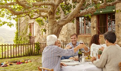 Family toasting wineglasses at table in yard