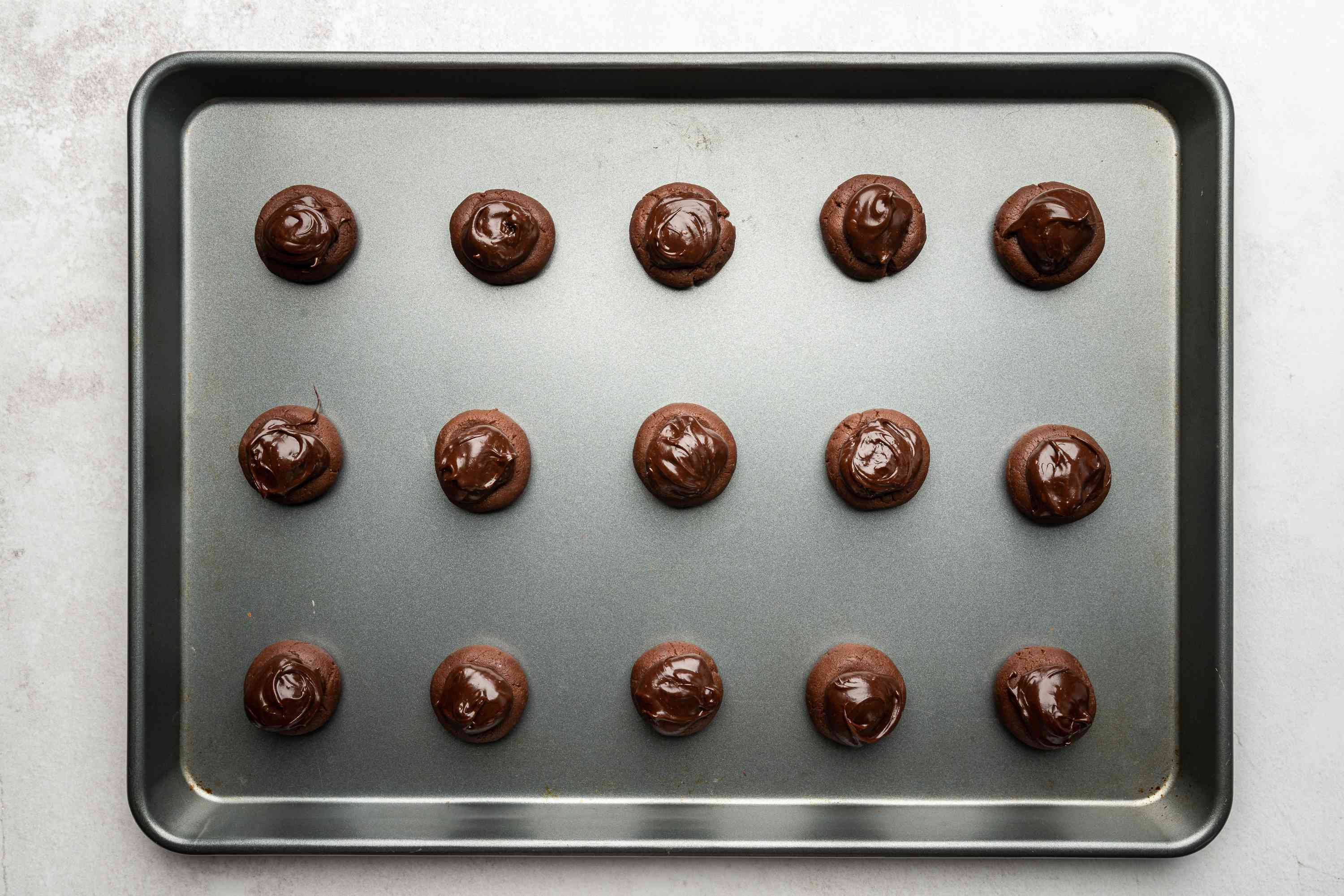 Jessica's Chocolate Covered Cherry Cookies on a baking sheet