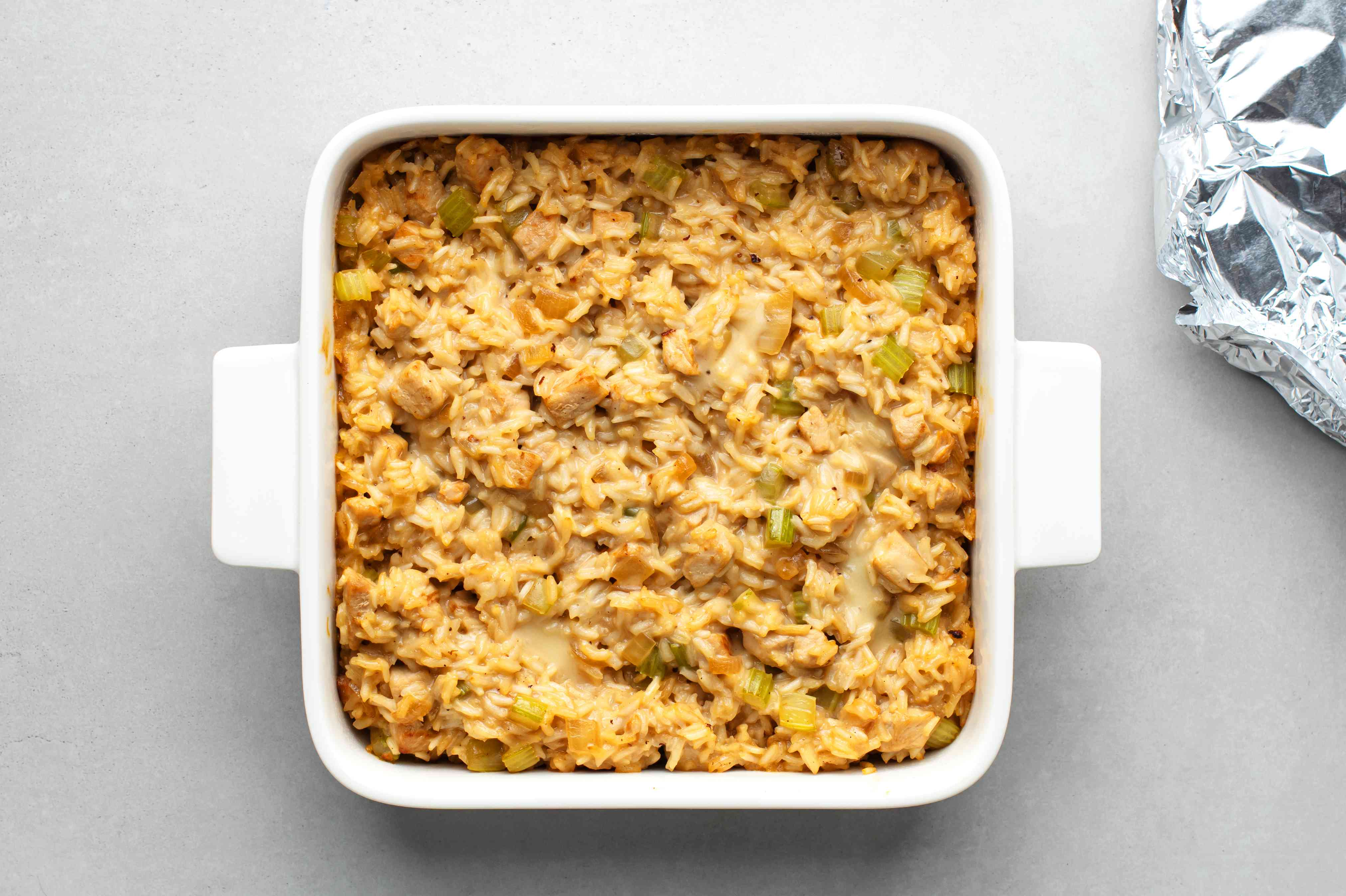 baked Pork, Rice, and Celery Casserole