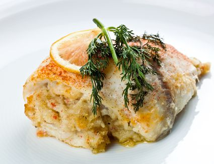 Fish fillets filled with bread stuffing