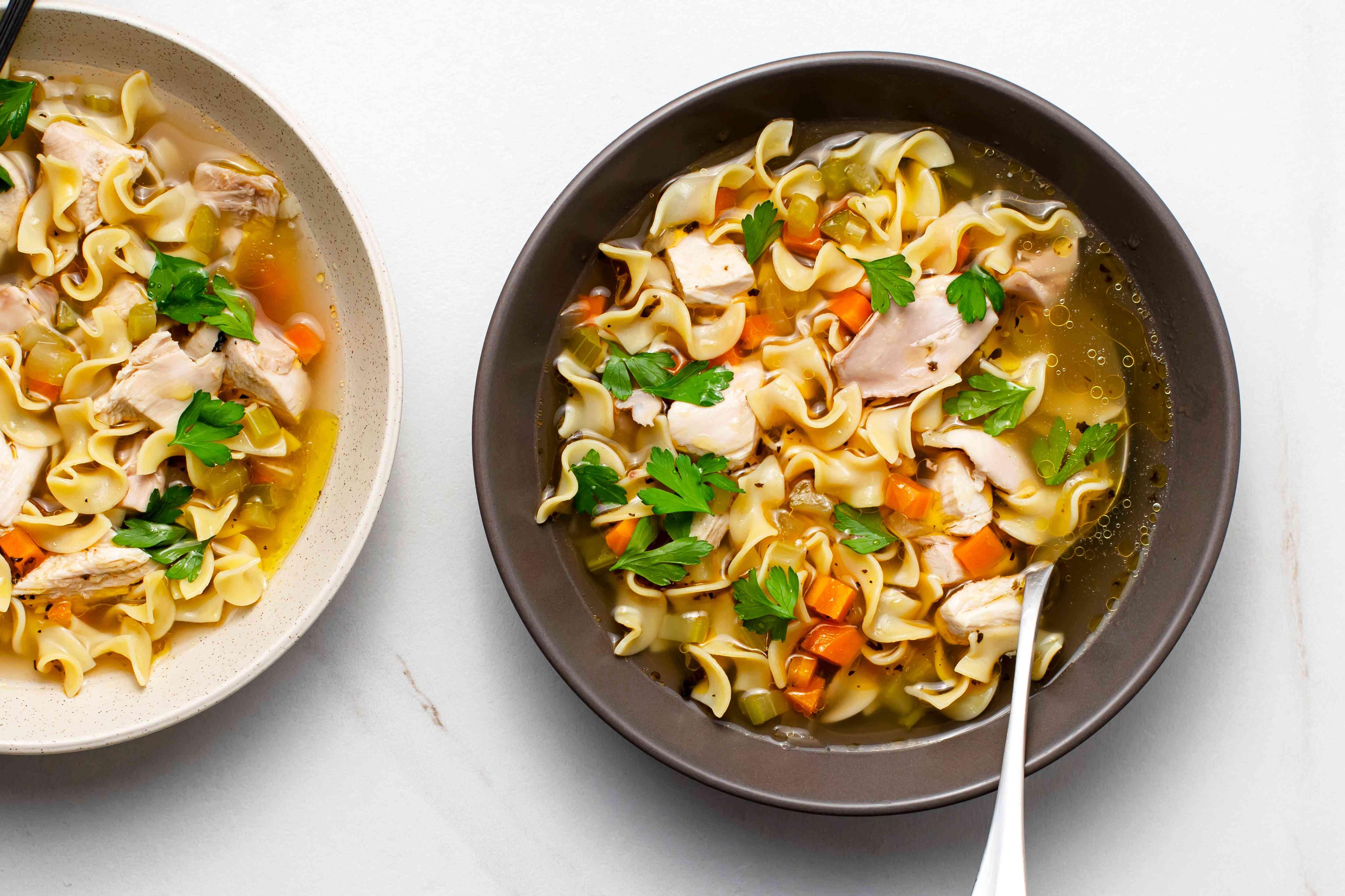 Crock Pot Chicken Noodle Soup in a bowl
