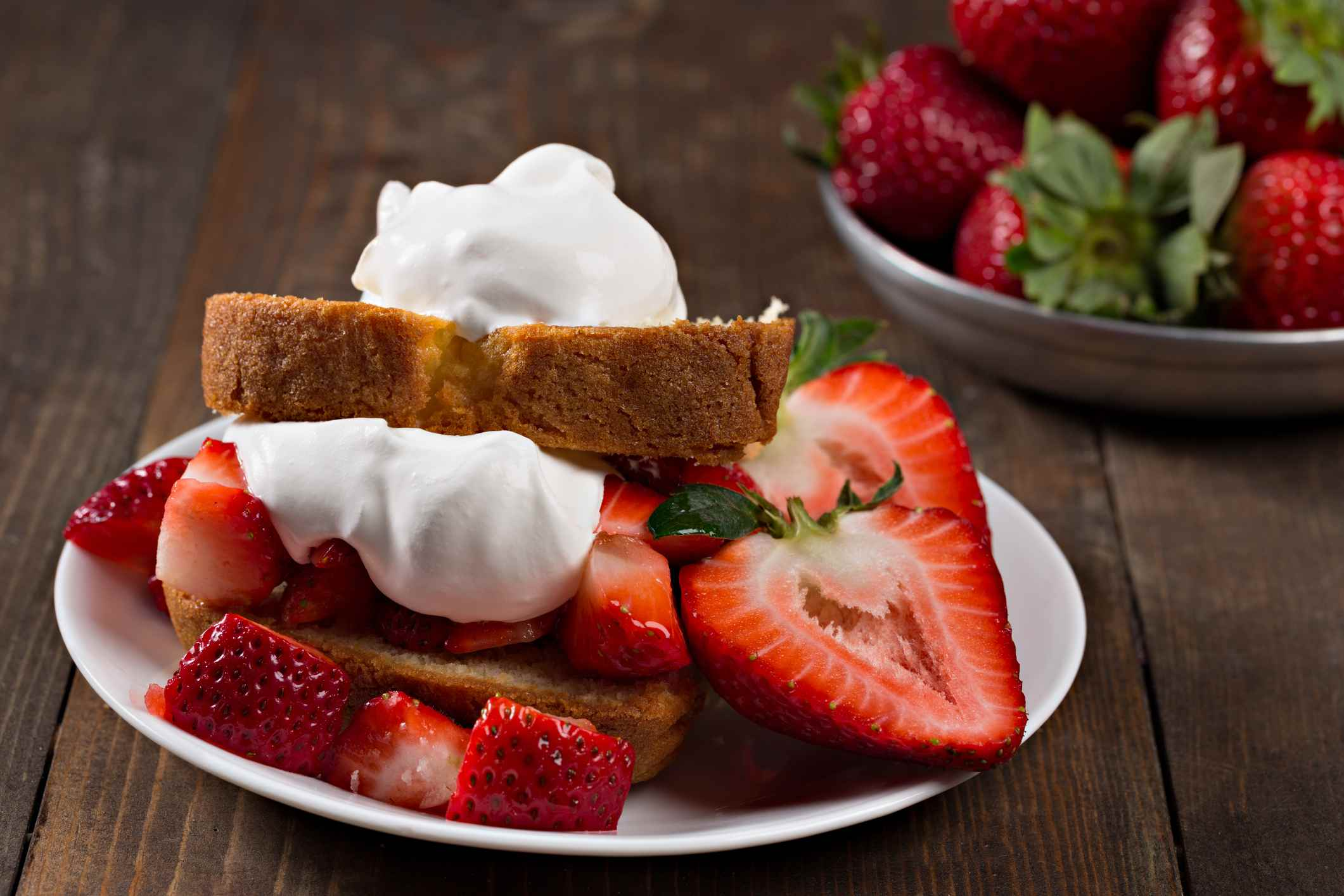Strawberry Shortcake And Bowl Of Strawberries