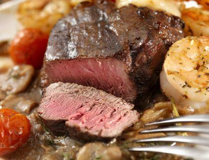 Medium Rare Beef Tenderloin Steak with mushroom sauce