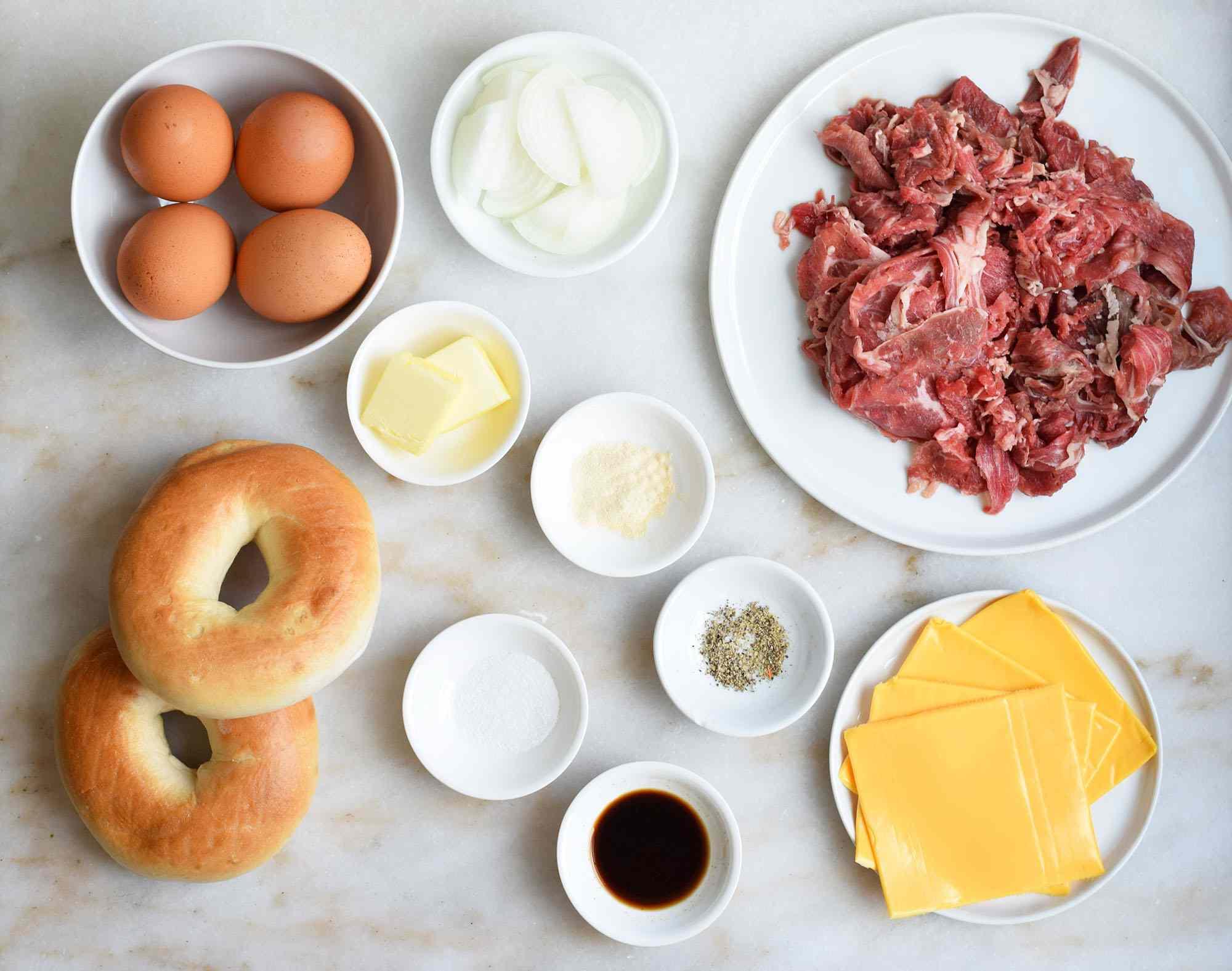 Steak, egg, and cheese bagel ingredients
