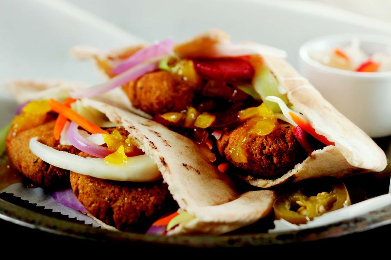 Ellen's Falafel With Pickled Vegetables & Minted Lemon Yogurt