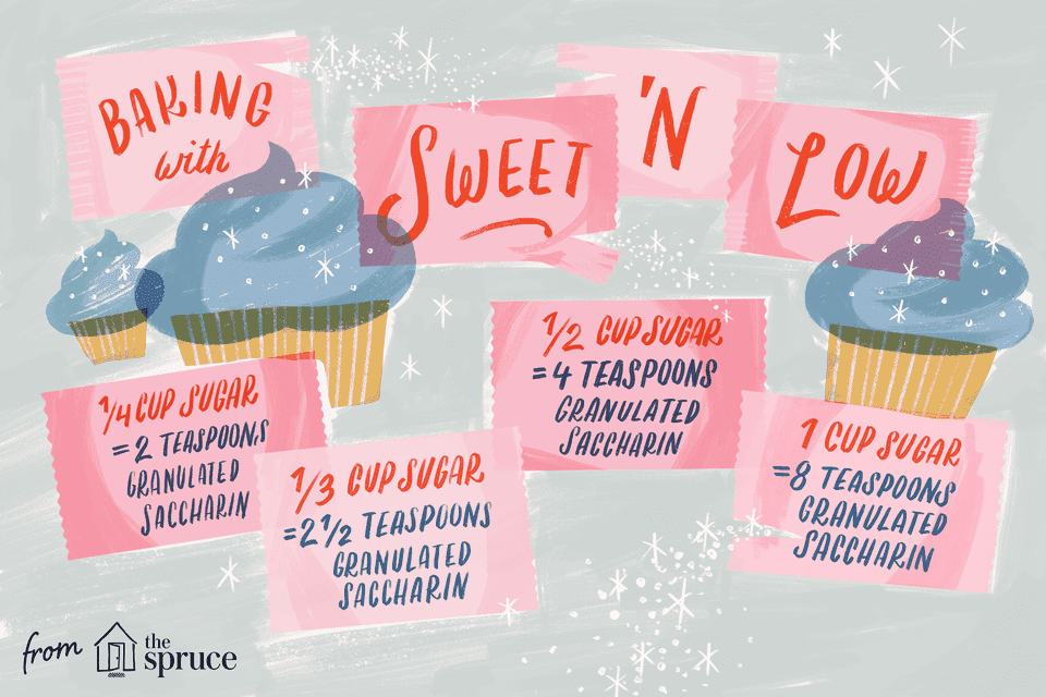 illustration featuring sweet and low measurements for baking