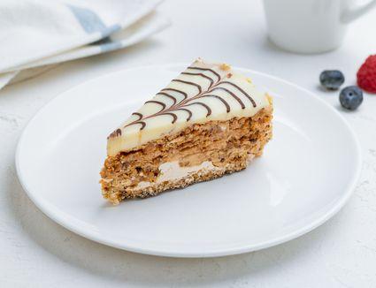 Hungarian Esterházy torte on a plate.