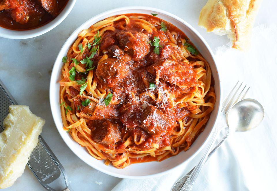 Sunday gravy with pasta