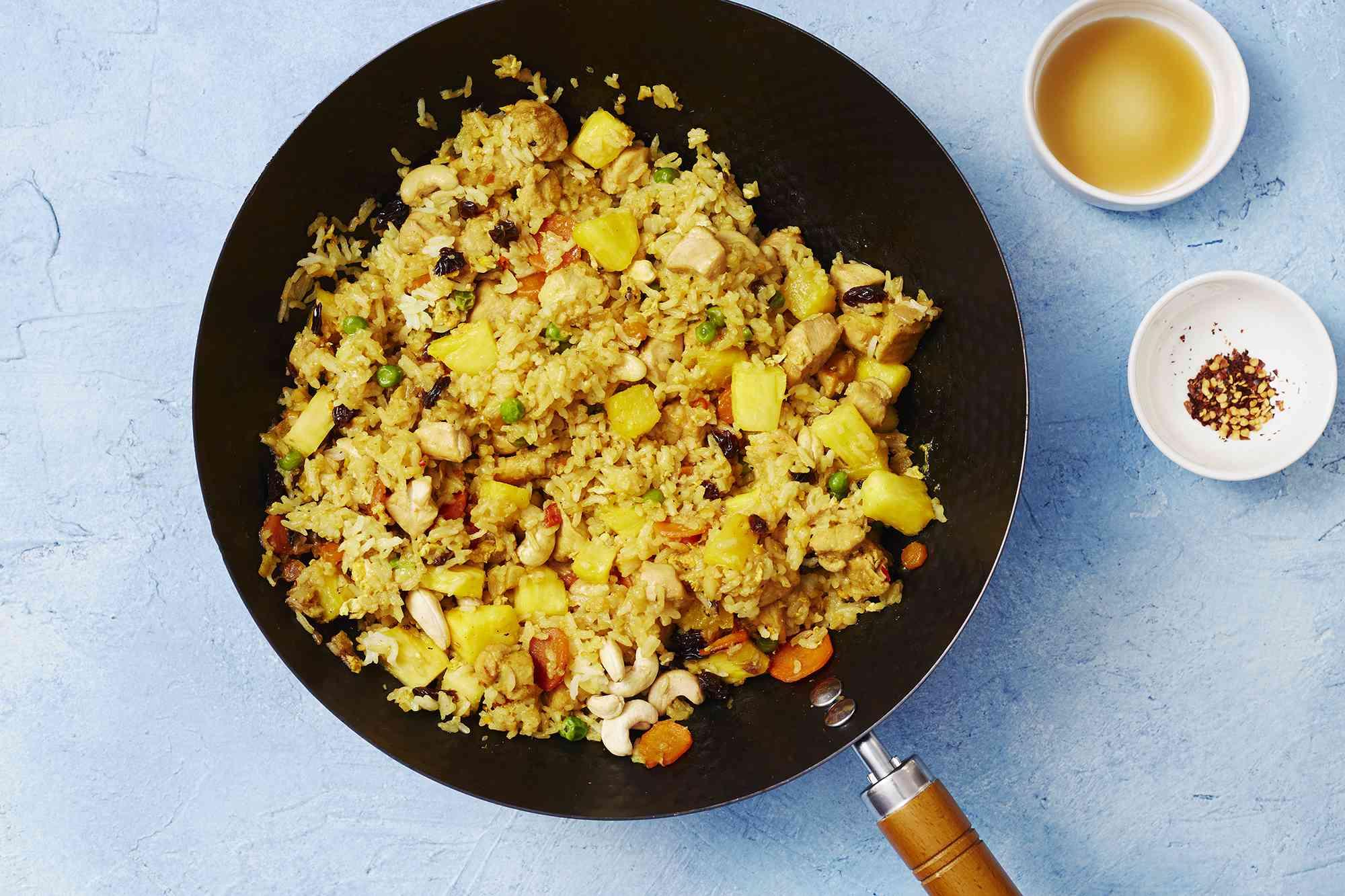 thai pineapple stir fy in a wok